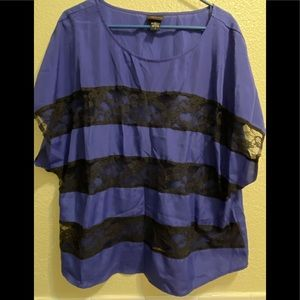 TORRID purple with black lace top